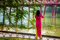 A woman in traditional ao dai, Hanoi, Vietnam