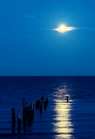 Full moon night in Galveston Bay, Texas
